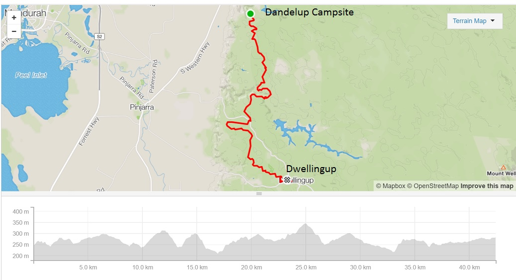 dandalup-campsite-to-dwellingup-map-and-elevation